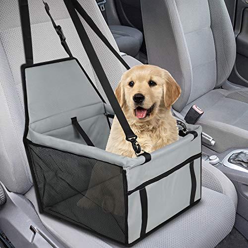 GeeRic Hunde Autositz für Kleine Mittlere Hunde Hochwertiger Auto Hundesitz für kleine bis mittlere Hunde - Verstärkte Wände und 3 Gurte - Wasserdichter Hundeautositz für Rück- und Vordersitz grau
