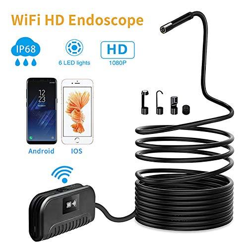 ZED WiFi-endoscoop, draadloze inspectiecamera, HD 2.0 megapixel, 1080P, slangencamera, waterdicht IP68, met 6 ledlampjes voor smartphone 10m
