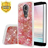 TJS Motorola Moto E5 Plus / E5 Supra/E Plus 5th Gen Case, with [Full Coverage Tempered Glass Screen Protector] Shiny Marble Glitter Slim Back Skin Body Protective Soft TPU Rubber Bumper Case (Pink)