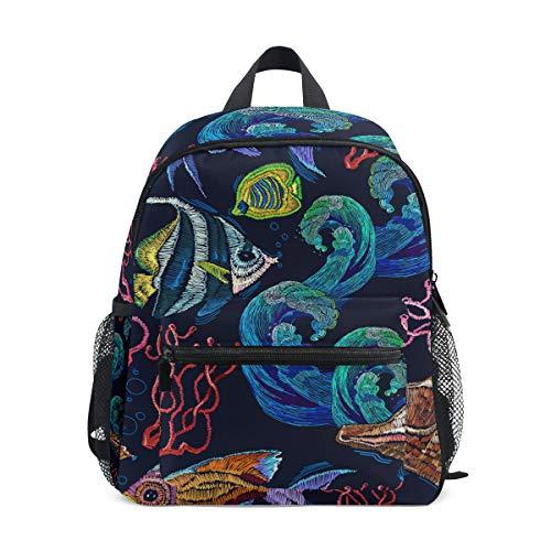 Schulranzen Vorschulrucksack bunt Meeresfische Kindergarten Kindergarten Rucksack leicht Büchertasche für Mädchen Jungen Kleinkind Alter 3-8 Kinder