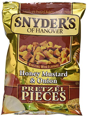 Snyder's Pretzel Pieces – Honey Mustard und Onion, Leckeres Bretzelgebäck – Salziger Knabberspaß - 125g -10er Pack (10x 125 g Tüte)