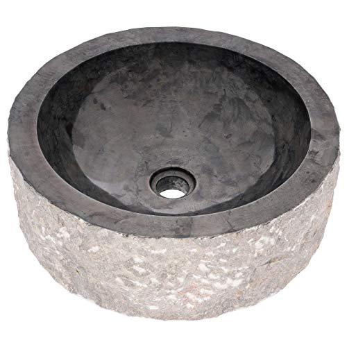 Divero wunderschönes Aufsatz-Waschbecken edler Marmor innen schwarz poliert handgefertigtes Handwaschbecken Naturstein 45cm Durchmesser