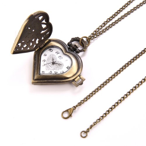 JewelryWe Vintage Heart Locket Style Steampunk Pocket Watch Pendant Long Necklace 31.5 Inch Chain (with Gift Bag) steampunk buy now online