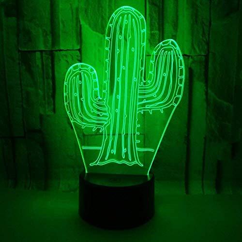WANBAOAO Elegante Cactus Colorido Degradado LED 3D Remoto estéreo USB Lámpara Noche luz táctil Escritorio de Noche Decorado imaginativamente Navidad cumpleaños 20 * 13cm clásico Noble