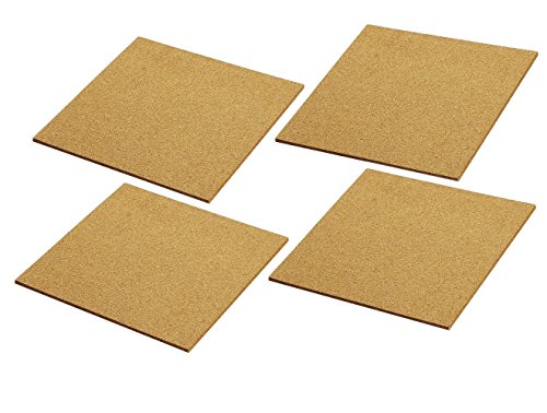 Juvale Cork Tile Boards -Frameless - Mini Wall Bulletin Boards - Natural - 4 Pack - 12 x 12 inches