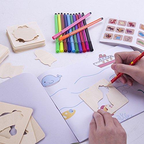 Toyandona Holzschablonen-Set für Kinder, Malvorlagen, Malbretter mit bunten Stiften