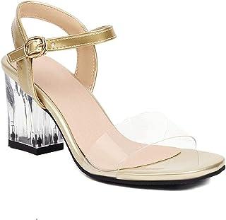 Dames open teen sandalen verstelbare gesp enkelband Lucite duidelijk blok stevige hoge hak jurk sandaal