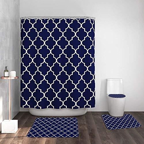 ETOPARS European Geometric Badezimmer Duschvorhang Teppich Set 4 Stück Soft & rutschfeste Badematte, U-förmiger Kontur Teppich, Toilettendeckelabdeckung 72 x 72 Zoll, Navy
