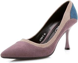 KTYXDE High Heel Women's Temperament Stiletto Work Shoes Spring and Summer 8CM Purple Black Women's Shoes (Color : Purple, Size : EU39/UK6/CN39)