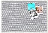 PinPix ArtToFrames 30x20 Custom Cork Bulletin Board. This Quatrefoil Grey Pin Board Has a Fabric Style Canvas Finish, Framed in Satin White (PinPix-284-30x20_FRBW26074)