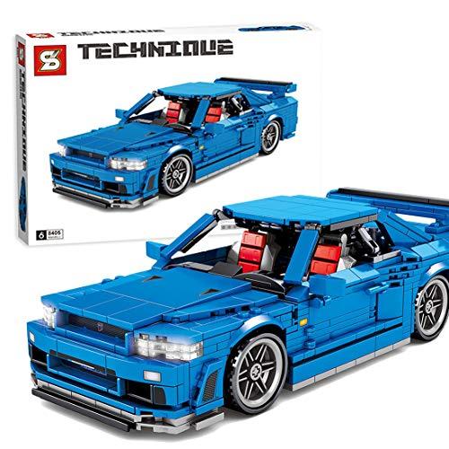 Leic Technic Sportwagen Modell 833Pcs Bausteine Supercar-Serie Pull-Back-Auto-Backsteinmodell für Nissan GTR 34 Kompatibel mit Lego