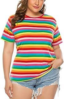 تي شيرت Large Size Women Rainbow Stripe Loose Comfortable T-shirt تي شيرت (Color : Red, Size : 3XL)