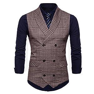 YOUTHUP スーツ ベスト メンズ ジレベスト ビジネス フォーマル スーツ仕立て チェック柄 ダブルブレスト シルエット付き M-4XL 大きいサイズあり オールシーズン対応 全7色