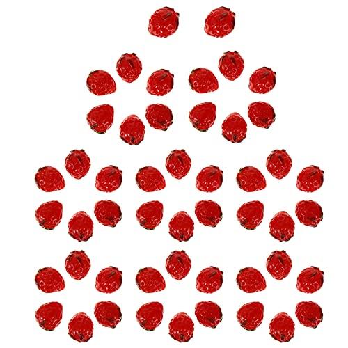 MILISTEN 50 Piezas Cuentas Sueltas Espaciadoras de Fresa Cuentas de Cristal de Murano Hechas a Mano Cuentas de Fresa Cuentas de Vidrio de Fruta para Fabricación de Collares Pulseras de