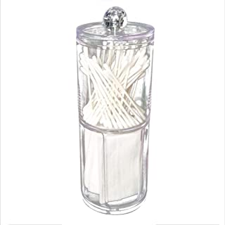 Acrylic Plastic Round Box Cotton Pad Swabs Makeup Storage Case Jewelry Round Canister with lid for Home Bathroom Bedroom