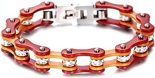 Braccialetto catena moto in acciaio inox bracciale da uomo e da donna arancio e rosso con shopper e custodia in omaggio fi...