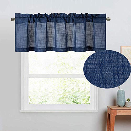 DiamondHome Natural Linen Textured Semi Sheer Light Reducing Window Curtain Valance (1 Valance 18' Long, Navy Blue)