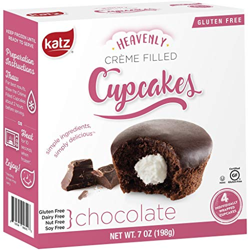 Katz Gluten Free Snacks Chocolate Crème Filled Cupcakes | Dairy Free, Nut Free, Soy Free, Gluten Free | Kosher (1 Pack of 4 Crème Cupcakes, 7 Ounce)