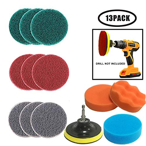 JOQINEER 13 Pezzi Pagliette Abrasive per Elettrico Trapano - Pulitore per Tutti Gli Usi Scrub per Trapano a Batteria per la Pulizia di  Piastrelle