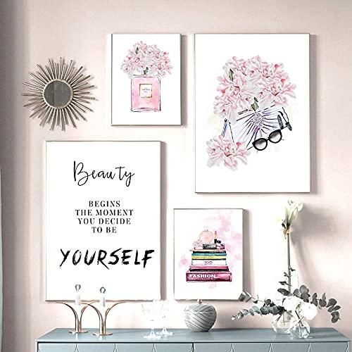 ZYQYQ Flor rosa Perfume Libro Cartel Bolsa Gafas Maquillaje Impresión Lienzo Arte Pintura Cuadro de pared Habitación de niña moderna Decoración del hogar 20x30cmx2 40x60cmx2 Sin marco