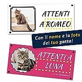 Adhesivo / Cartel 'Attenti al gato' personalizable con la foto de su gato, impreso en vinilo (Señal Forex 250 x 120 mm, nombre personalizable)