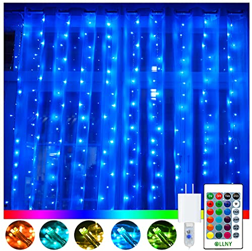LED Curtain String Lights, Ollny 16 Colors Changing 240 LED Fairy Light, 9.8 ft x 9.8ft, 4 Modes Remote, Plug in Twinkle Hanging Light for Christmas Wedding Party Bedroom Outdoor Indoor Wall Decor