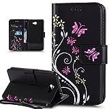 Coque Huawei Y5 II,Etui Huawei Y5 II,Peint coloré Embosser Papillon fleur Housse en Cuir PU Etui...