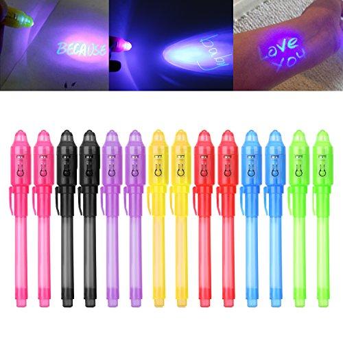iZoeL 14 secret pen with UV light, invisible writing, Spy Invisible UV Pens...