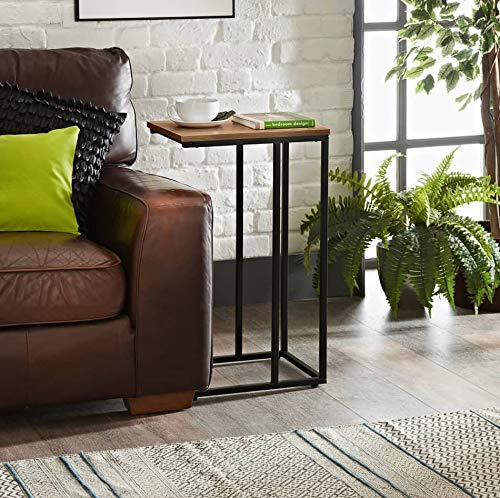 E2B Tromso Sofa Side Table End Table Coffee Table Dark Wood, for Laptop with Metal Frame Nightstand Table Beside Table