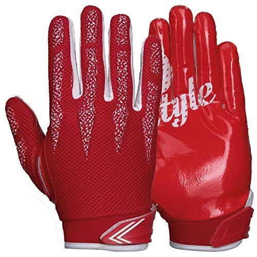 Prostyle Arrow, leicht gepolsterte Football Receiver Handschuhe - rot Gr. L