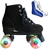 Perfect for Men and Women BWOLF High-top Roller Skates for Adults Teens Youth Kids PU Leather Roller Skates Double Row Wheels Roller Skates with Shoes Bag