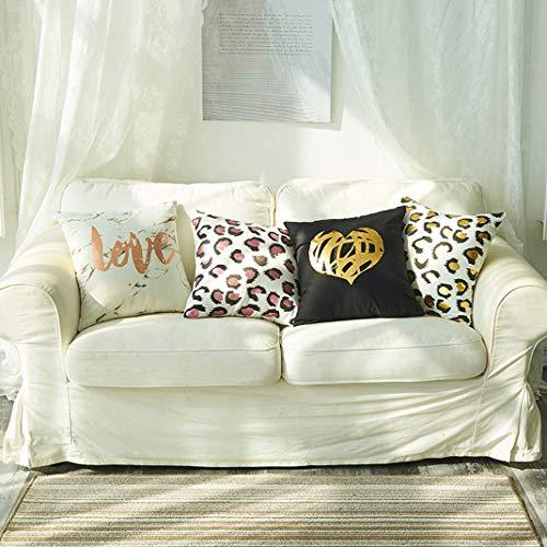 VOMI Funda de Almohada Algodón 4 Pack Cojines Fundas 45 x 45 cm, Fundas para Cojines Bronceado Funda Almohada Estampado de Leopardo y Amor Corazon para Hogar Sala de Estar Dormitorio,A1