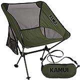 KAMUI Tragbarer Campingstuhl mit Seitentasche, Tragegurt, Ultraleicht, Kompakt faltbar, Grün