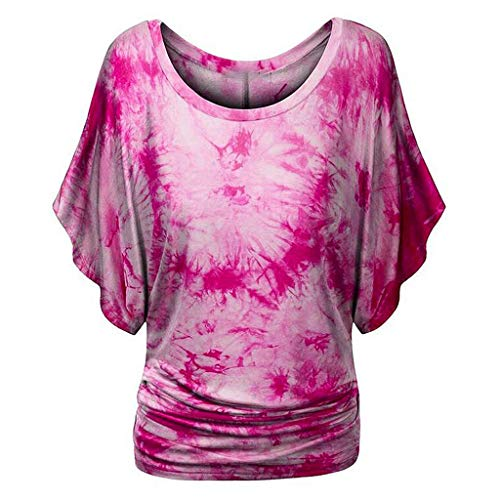 Lowest Price! Toimothcn Tunic Tops for Women Plus Size Short Sleeve Bat Sleeve Tie-dye Print Fold He...