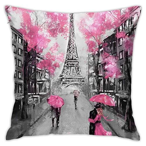 Art Paris Street Eiffel Tower - Funda de cojín con diseño de flores rosas y flores, diseño cuadrado de la nueva serie Living de 45,72 x 45,72 cm, para sofá de interior y coche