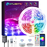 Smart LED Strip Lights, HitLights 32.8ft RGB LED Strip Work with Alexa Google Home, Remote and WiFi APP Control, 5050 Music Sync Color Changing LED Strip Lights for TV Gaming Room Bedroom Tiktok Party