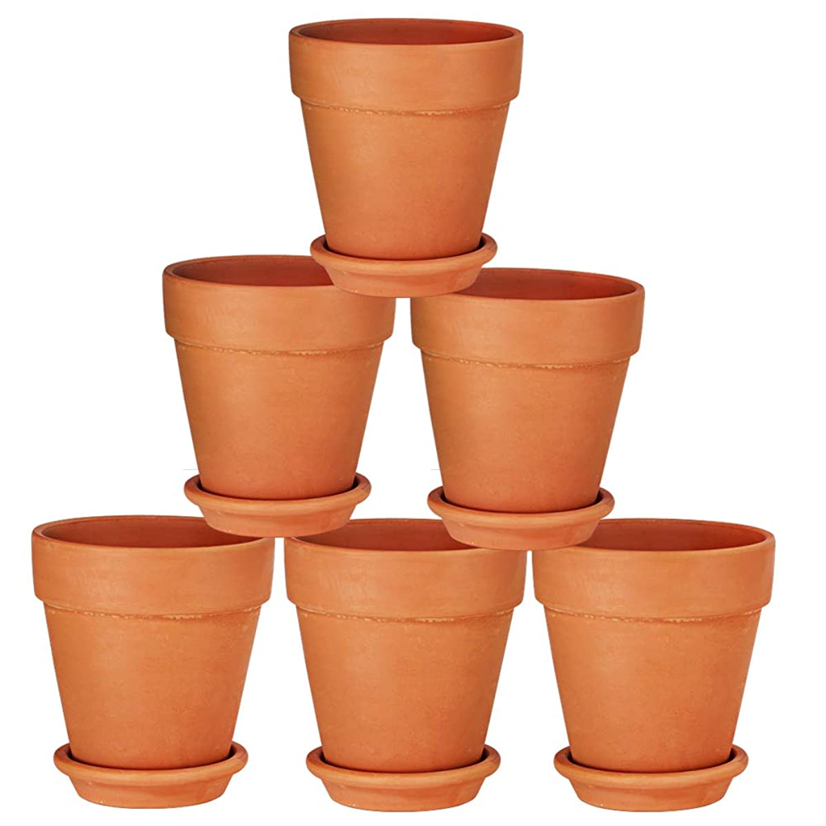 Terra Cotta Pots with Saucer- 6-Pack Large Terracotta Pot Clay Pots 5'' Clay Ceramic Pottery Planter Cactus Flower Pots Succulent Pot Drainage Hole- Great for Plants,Crafts,Wedding Favor (5 inches)
