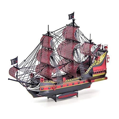 Rompecabezas 3D De Metal Queen Anne Revenge 63 Piezas, Puzzle Caribe Pirata Barco Juguetes Educativos Bricolaje para Adultos y Niños, Kit Construcción Modelos Arquitectura