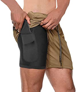 """MECH-ENG Men's Workout Running 2 in 1 Shorts Training Gym 7"""" Short with Pockets"""