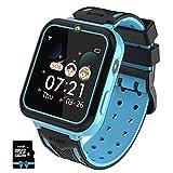 PTHTECHUS Reloj Inteligente para Niños con Reproductor de MúSica, Smartwatch para niños con 7 Juegos Cámara SOS para Niños De 3-12 Años Reloj de Pulsera Digital, MP3 Azul