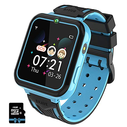 Kinder Smartwatch, Smart Watch Phone mit Musik-Player, SOS, 1,55 Zoll LCD-Touchscreen-Uhr mit Digitalkamera, Spielen, Taschenlampe, Zwei Wege Gespräch, Wecker für Jungen und Mädchen(Blau)