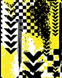 College Ruled Composition Notebook: Yellow and Black Abstract Mountain Bike...