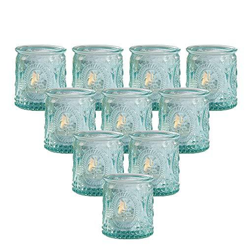 Kate Aspen Tea Light Holder, Vintage Blue Glass Tealight Candle Holders, Perfect Favors Decoration fpr Wedding, Bachelorette, Bridal Shower - (6 Sets of 4, 24 Pieces)