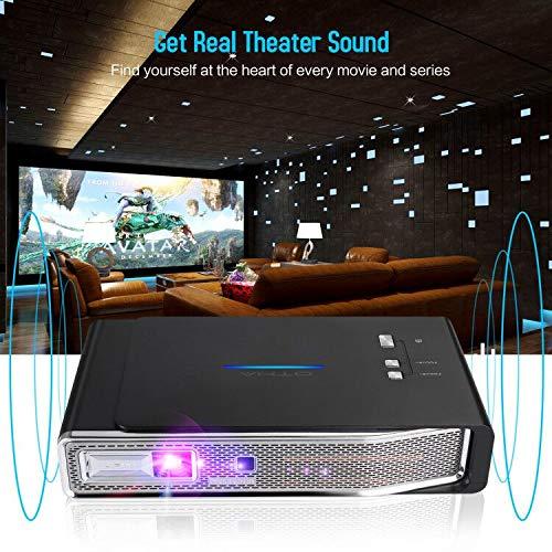 OTHA 4K Proyector, Mini Proyector V5, Proyector Portátil, 3800 Lumens, 1280x800, 3D DLP-Link, Proyector Android, Soporte USB/IR / 4K / HDMI/AV, 4K Proyector con Sonido Dolby para Cine en casa, 16G miniatura