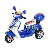 Moto Scooter électrique pour Enfants 6 V env. 3 Km/h 3 Roues et topcase Effet Lumineux et sonore Bleu