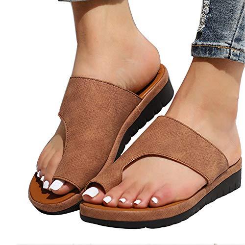 Sandalias de plataforma para mujer con plataforma y plataforma de piel sintética, plataforma de piel sintética, suela suave, con soporte para el dedo del pie para verano,playa,viajes,marrón,36 EU