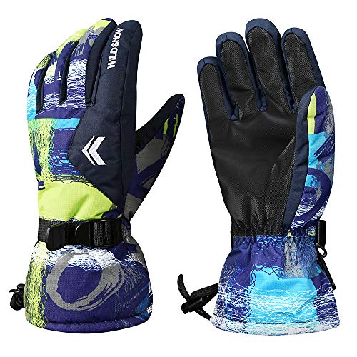 Ski Gloves, Warmest Waterproof and Breathable Snow Gloves for Mens,Womens,Ladies and Kids Skiing,for Parent Child Outdoor (Blue Green, L(Fit Kids 11-15 Years Old and Women))