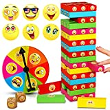 ShooBacK Tumbling Stacking Color Blocks for Kids 51 Pcs Plus Roulette and 2 Dices,Wooden Colored Toppling Stacking Board Games for Boys and Girls at Age 3 Years Old and up.