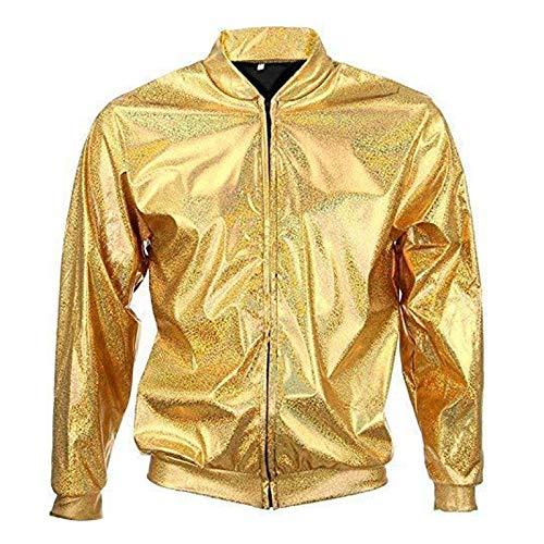 Mixed 70er Jahre 80er Jahre 90er Jahre Qualität Metallic Shiny Rave Bomber Jacke Hologramm Festival Kostüm (Gold groß)
