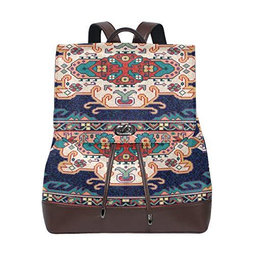 JINCAII Bunte orientalische Mosaik Teppich traditionelle Folk Womens Umhängetasche Rucksäcke Leder Kordelzug wasserdicht weiches Leder Rucksack Geldbörse Damen Mode Taschen